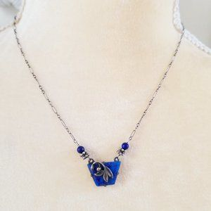 Jewelry - 925 Sterling Silver Lapis Lazuli Leaf Necklace